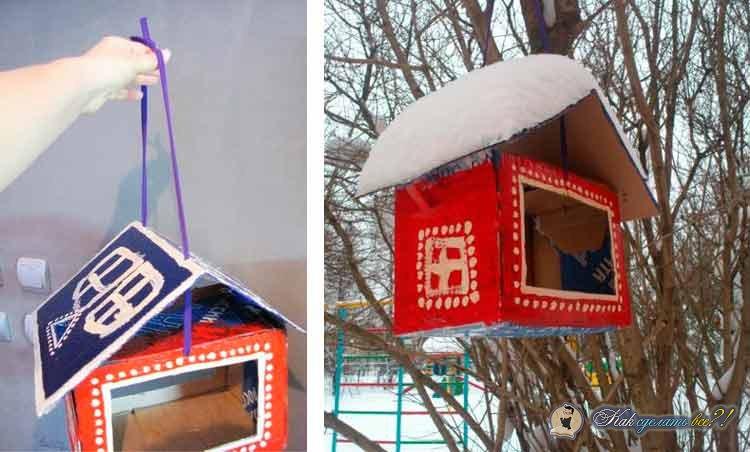 Кормушка из картона для птиц своими руками в детский сад