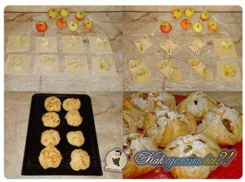 Как сделать слоеное тесто с яблоками. Конвертики?