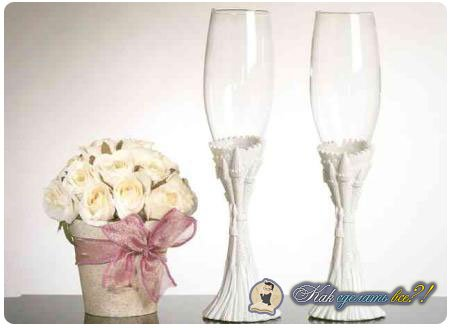 Как сделать бокалы жениха и невесты?