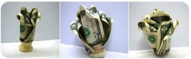 Как сделать розу из денежных купюр?