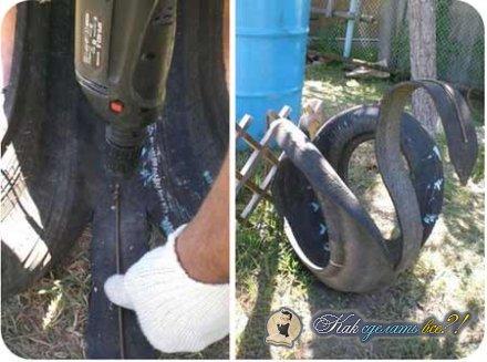 Как сделать лебедя из шин?
