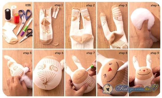 Игрушки из носок пошаговое
