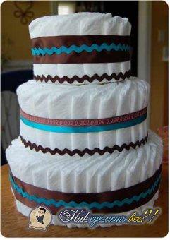 Как сделать торт из памперсов?