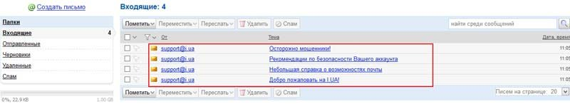 Яндекс Каталог: Электронная почта