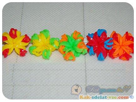 Как сделать цветок из резинок на станке?