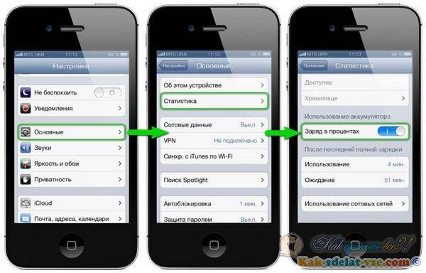 Как сделать чтобы на айфоне показывал заряд в процентах