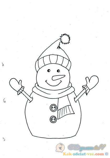 Как нарисовать СНЕГОВИКА на Новый год?