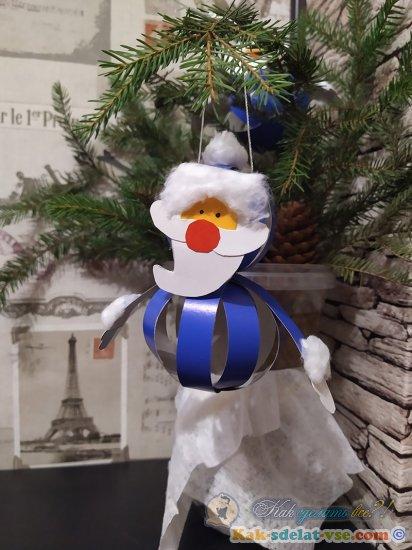 Как сделать Дед мороза на ёлку из картона?
